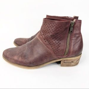 Hinge Burgundy Ankle Booties Perforated Zipper